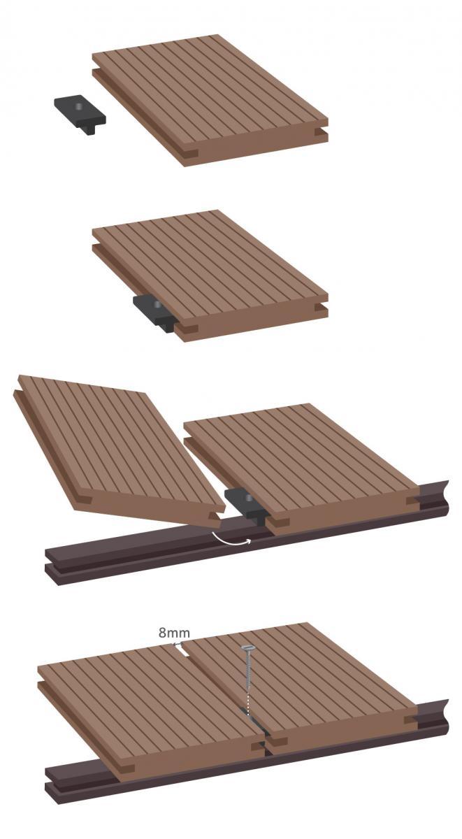 b q composite decking clips decks ideas. Black Bedroom Furniture Sets. Home Design Ideas