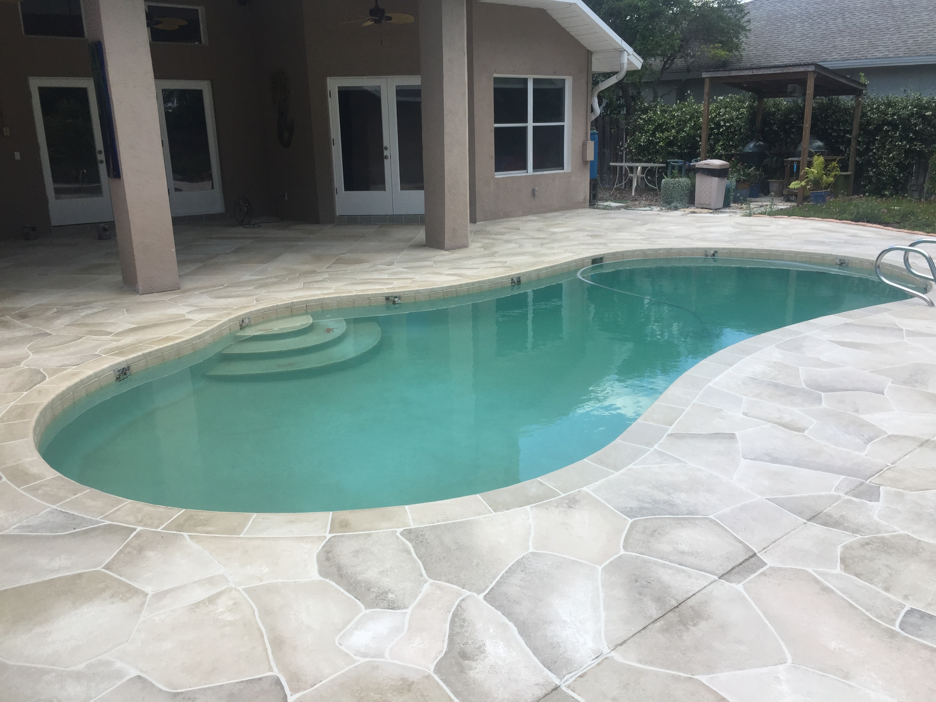 Concrete Designs Florida Flagstone And Travertine Tile Pool Deck Inside  Dimensions 3264 X 2448
