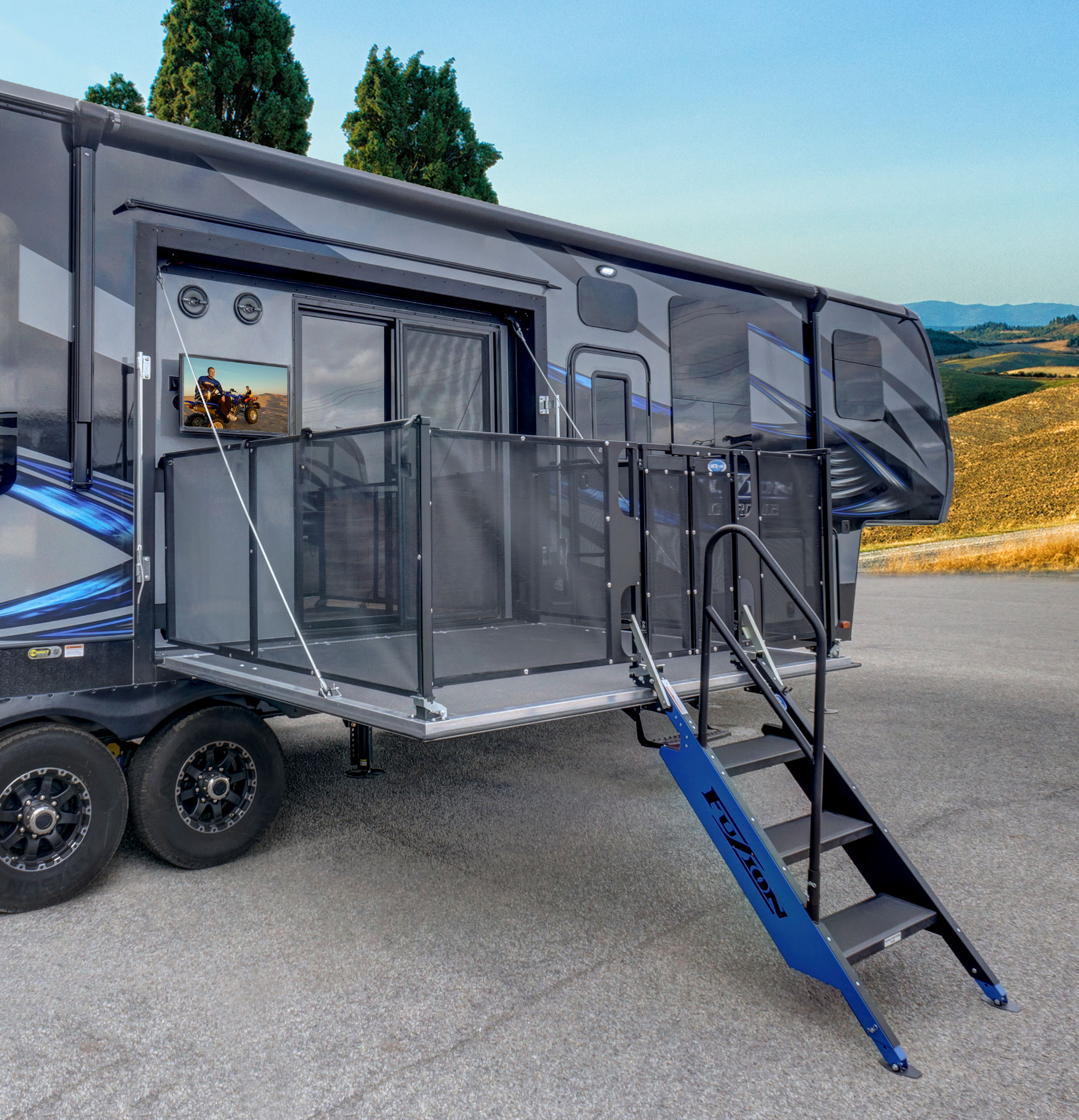 Fuzion 420 Toy Hauler Features Two Patio Decks Rv Business with sizing 2000 X 2077