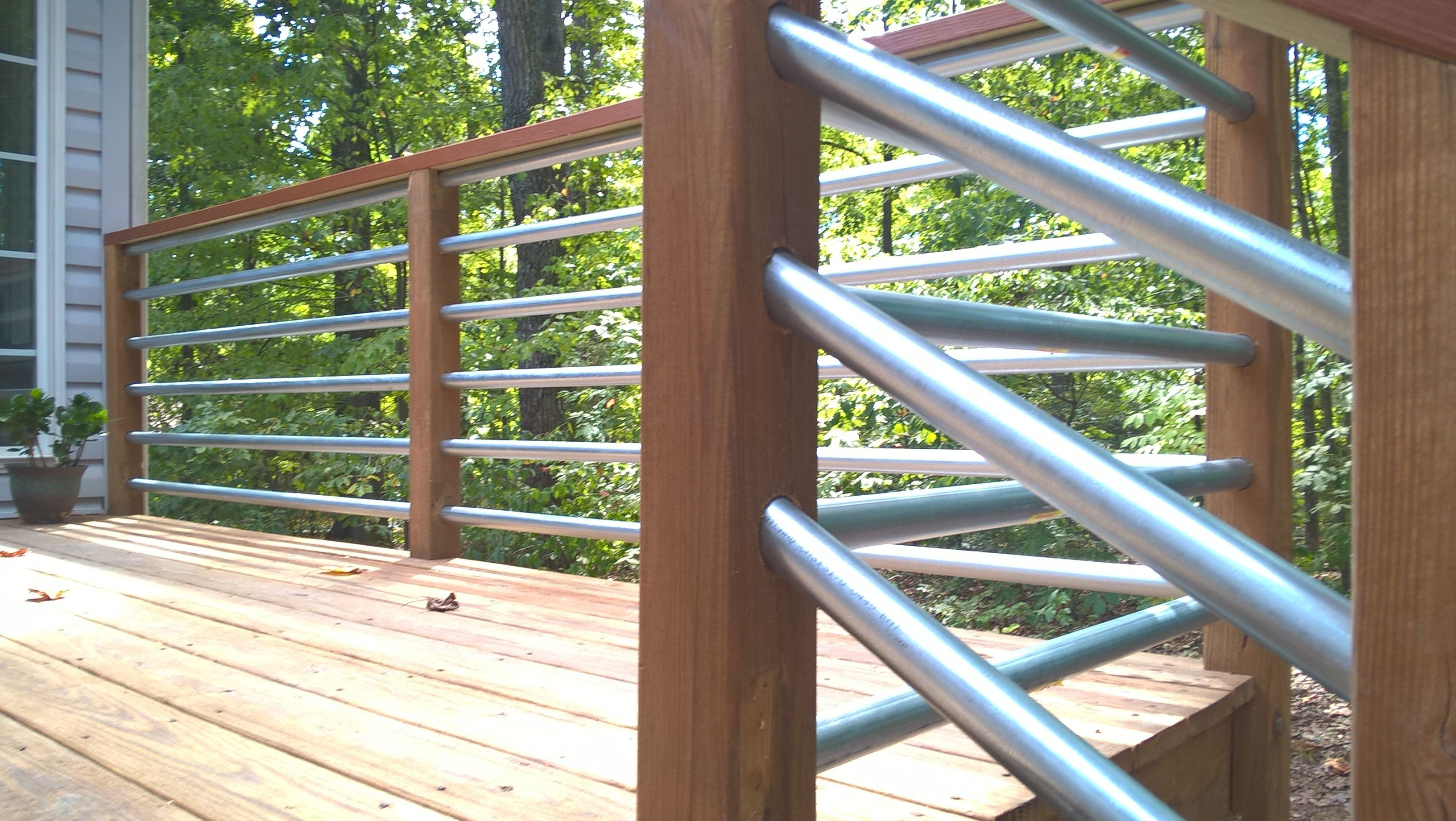 Horizontal Railing Using 125 Conduit Deck Makeover Deck for dimensions 3264 X 1840