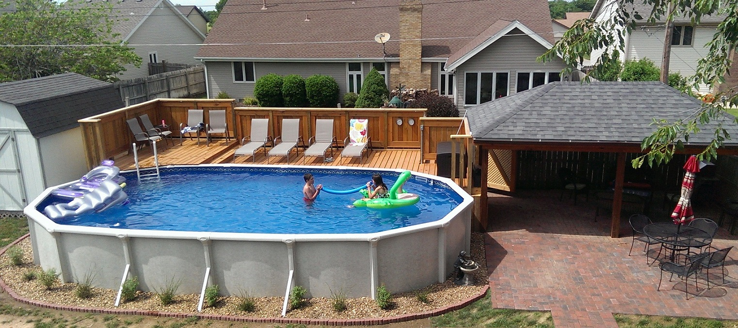 Huge Gift Oval Above Ground Pool With Deck Ideas From Wood For Regarding Sizing 1522 X