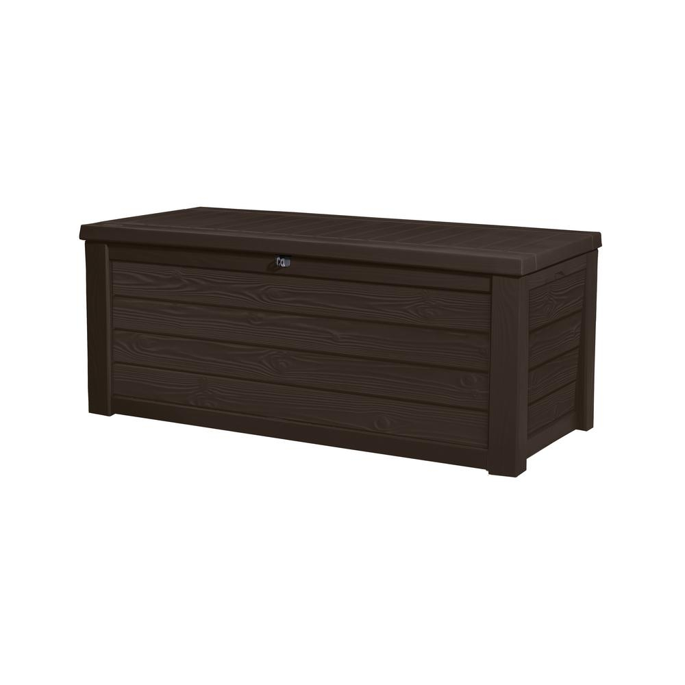 Keter Westwood 150 Gal Resin Deck Box In Espresso Brown 231666 Throughout Dimensions 1000 X