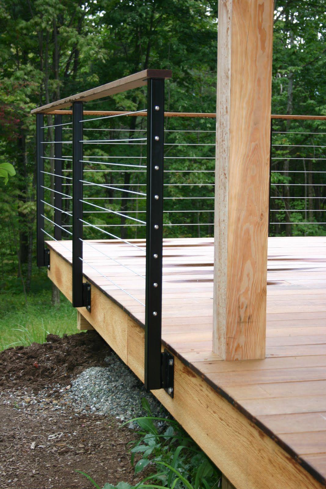 Modern Cabin Deck Railing Metal Railing Posts Wire Wood Decks in dimensions 1067 X 1600