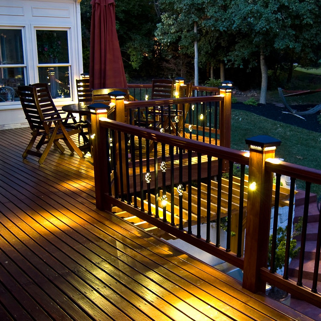 Post cap lights for deck decks ideas pyramid post cap dekor lighting pertaining to sizing 1053 x 1053 aloadofball Images