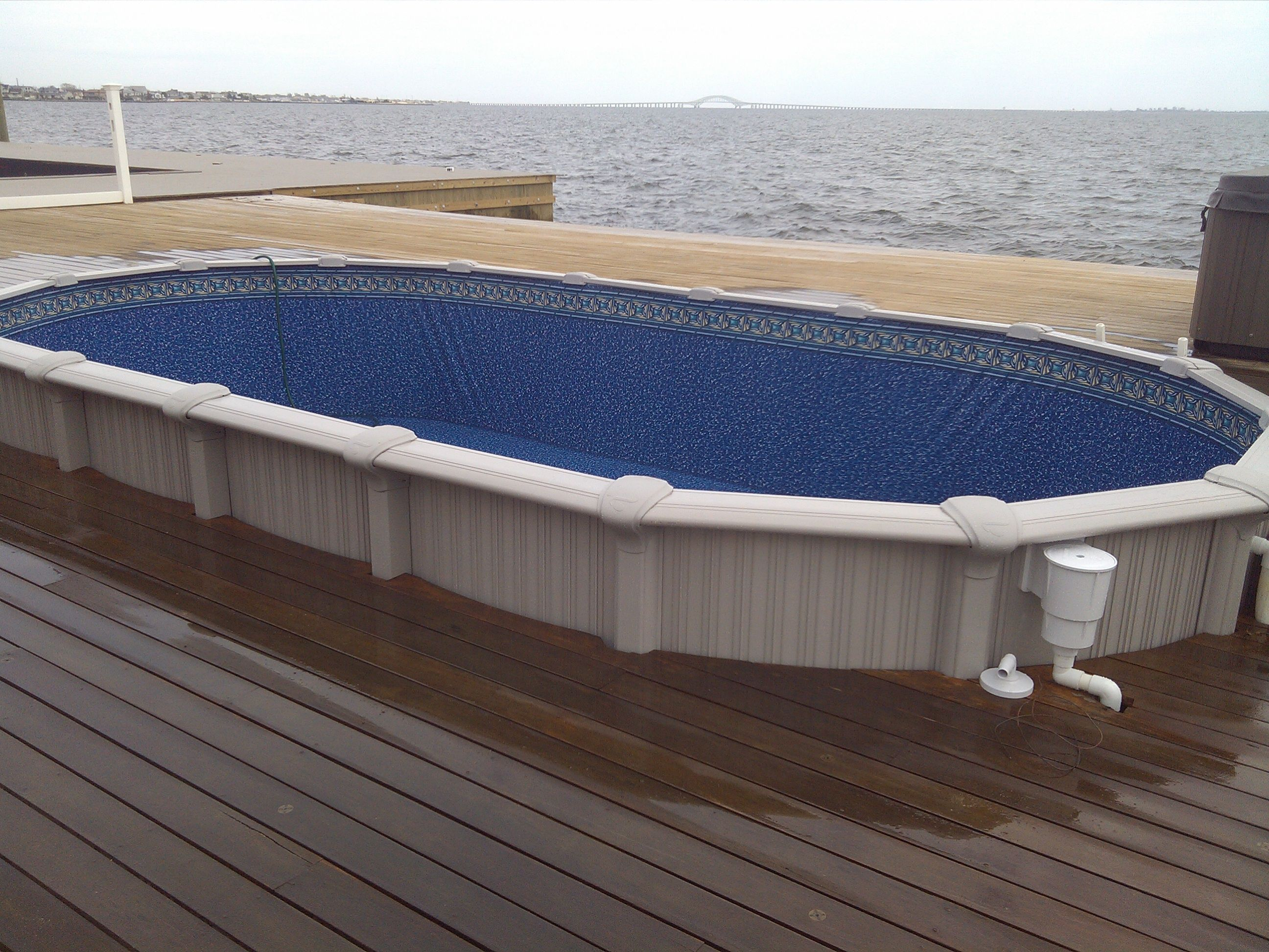Sharkline Semi Inground Pool With Deck Built Around It Brothers 3 In Proportions 2592 X 1944