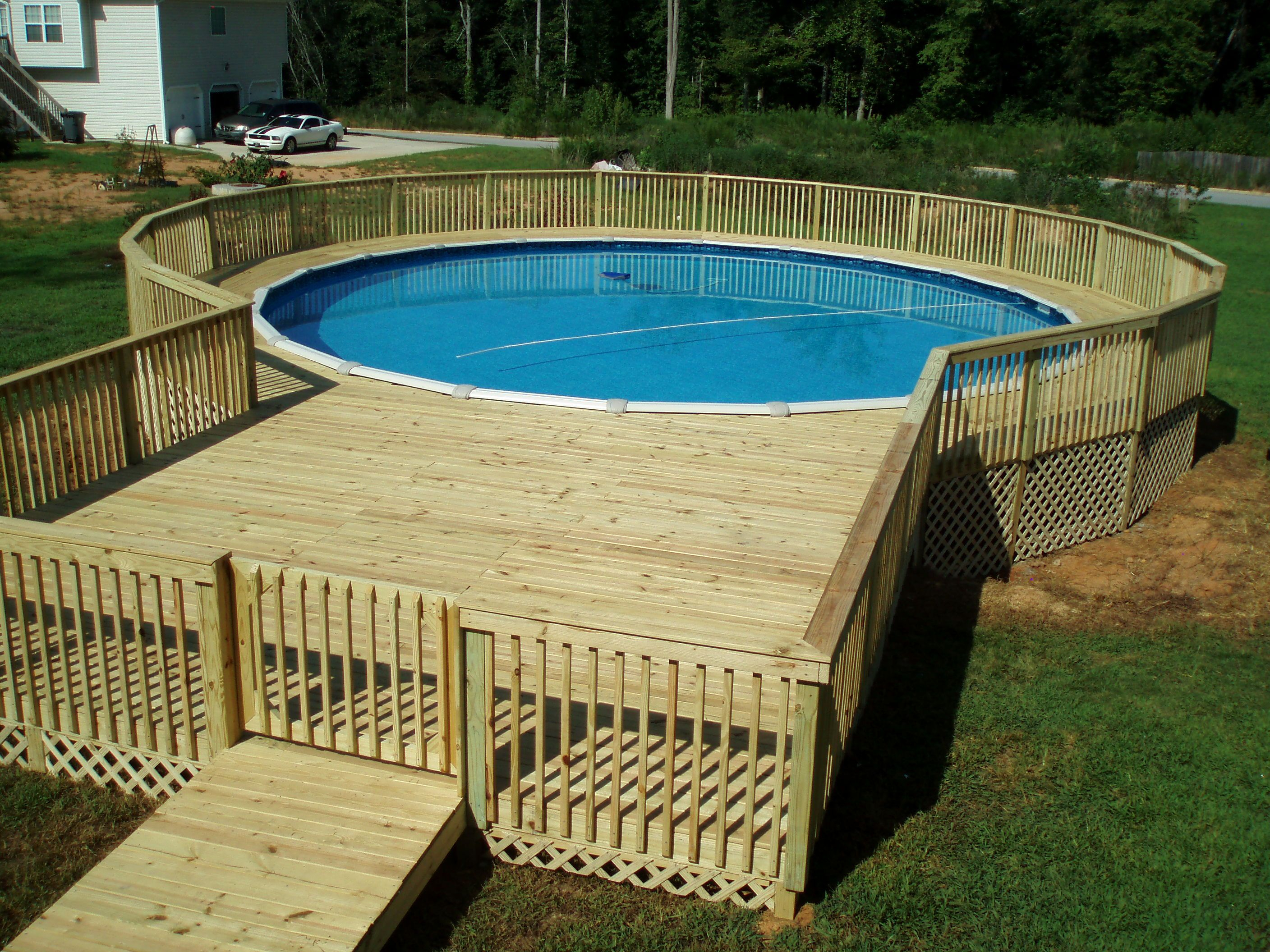Simple Above Ground Pool Deck Ideas Httpdesigningandideas Within  Proportions 2816 X 2112