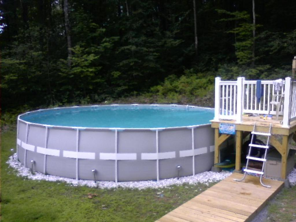 Free Standing Above Ground Swimming Pools: Intex Free Standing Pool Deck • Decks Ideas