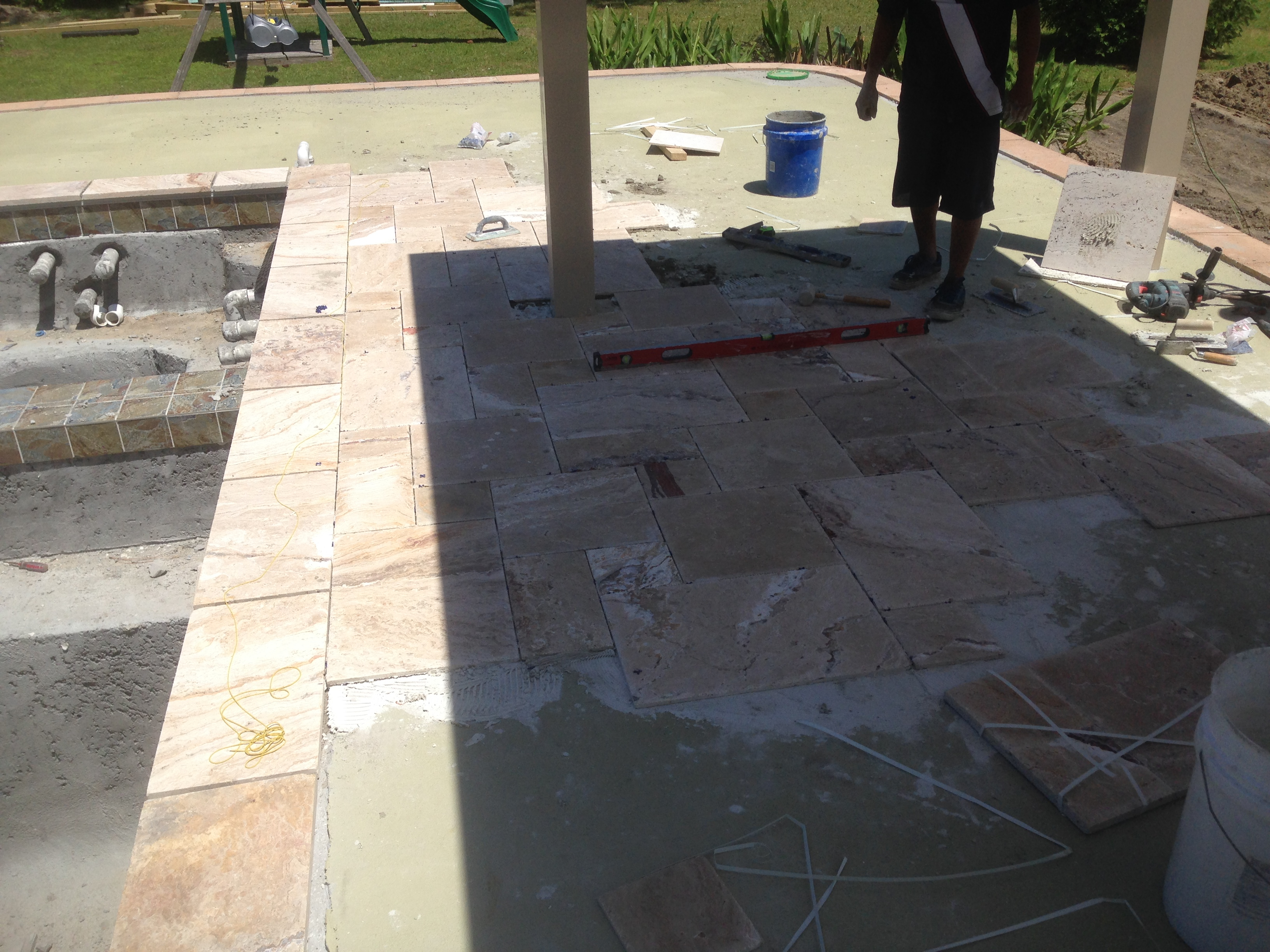 Travertine Pavers Over Concrete Pool Deck Decks Ideas Sealing Outside Tile